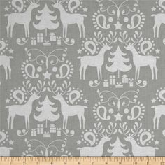 Treelicious Rudolph Grey from @fabricdotcom  Designed by Maude Asbury for Blend Fabrics, this cotton print is perfect for quilting, apparel and home decor accents.  Colors include grey and white.