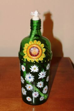 Hand-painted Bottle Oil Lamp  Sunflower & Daisy by OceanCraft