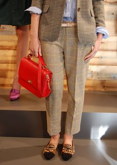 The mix of menswear styles, persimmon bag and leopard shoes is freakin genius