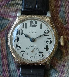 mens antique 1906 elgin fancy color porcelain dial hinged gold elgin