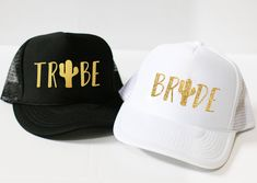 Cactus Bride and Tribe Hats - Bridal Party Tucker and Baseball Hats - Bridesmaids Hats - Bachelorette Party Hats - Bach Bash Wedding Favors || Rose Crown Co.