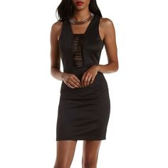 Charlotte Russe Black Fringe Cut-Out Bodycon Dress by Charlotte Russe... ($30) ❤ liked on Polyvore