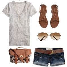 A fashion look from July 2013 featuring J.Crew t-shirts, Hollister Co. shorts and H&M sandals. Browse and shop related looks.