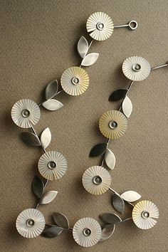 Necklace | Lisa West. 'Daisy'  Mother of pearl and silver