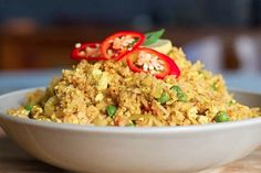 Traditional Chinese takeout usually comes with egg mixed into the fried rice, but not this one!