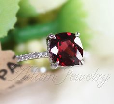 My new ring for our anniversary :) Cushion Cut 8mm Red Garnet Ring Pave Diamonds 14K