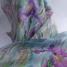 """Nouveauté echarpe foulard en soie peint main iris """"les jardins du maître """""""