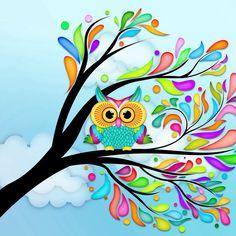 Colourful owl in tree сова цветы окрытка лето дерево облака