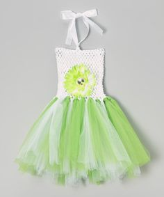 Another great find on #zulily! White & Key Lime Green Flower Tutu Dress - Infant by Ballerina Girl #zulilyfinds