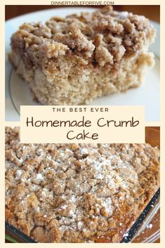 The best homemade crumb cake this cinnamon coffee cake recipe is moist buttery and full of cinnamon flavor this is the best recipe for cinnamon crumb cake out there! Yummy Treats, Delicious Desserts, Sweet Treats, Yummy Food, Tasty, Easy Cake Recipes, Baking Recipes, Simple Dessert Recipes, Easy Homemade Desserts