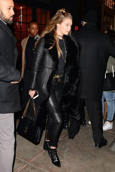 Pin for Later: Gigi Hadid Pulled a Very Sexy Styling Trick While Hanging Out With Zayn She First Tried This Trick Earlier in the Year, With a Pair From Versace and Leather Pants