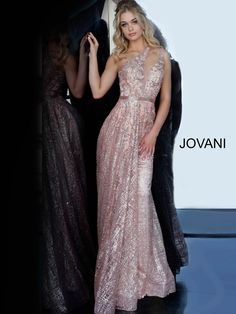 Jovani 1658 is a cracked ice asymmetrical A-line gown that has a sheer neckline and an open back. Gold Prom Dresses, Prom Dresses Jovani, Designer Prom Dresses, Pageant Dresses, Bridesmaid Dresses, Formal Dresses, Rose Gold Bridesmaid, Bridesmaid Proposal, Formal Wear