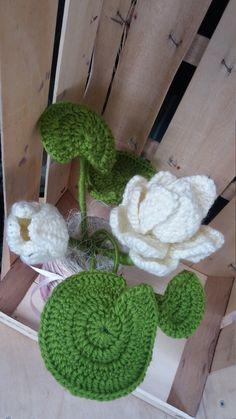 Pianta uncinetto: fiore di loto bianco e verde in vasetto di vetro riciclato e decorato di ErbavoglioCreazioni su Etsy
