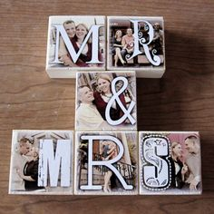 Personalized Photo Blocks- for your wedding- MR. and MRS. reception decoration- set of SIX Letter Blocks. $45.00, via Etsy.