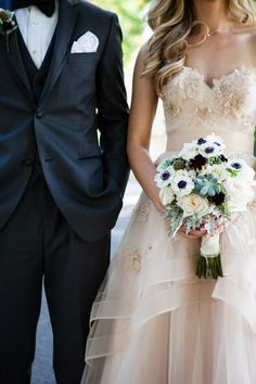 Fall Wedding Thoughts - Bouquet colors and use of succulents + boutonnieres and beige wedding dress. Lovely.