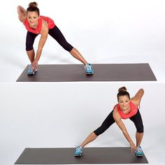 Moving laterally is great way to work the glutes on the side of your pelvis (known as the gluteus medius) as well as the inner thighs. These muscle groups help stabilize the pelvis and should be considered part of the core. Start with your feet Squats And Lunges, Side Lunges, Burpees, Fitness Blogs, Body Fitness, Gym Fitness, Best Cardio Workout, Butt Workout, Step Workout