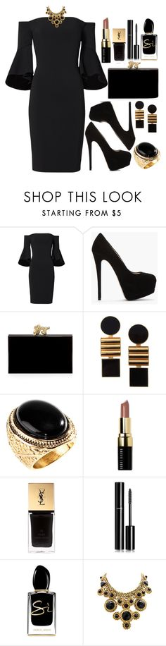 """Untitled #4329"" by natalyasidunova ❤ liked on Polyvore featuring Laundry by Shelli Segal, Giuseppe Zanotti, Charlotte Olympia, Égotique, H&M, Bobbi Brown Cosmetics, Yves Saint Laurent, Chanel, Giorgio Armani and Swarovski"
