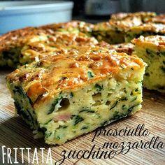 Italian Zucchini Frittata with Ham, and Mozzarella & Parmesan Cheese