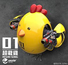 Toys Hero In Hand Q-MECH Chicken Battle Chicken Original Color Yellow