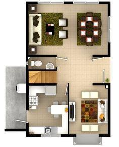 Plano de bonito dise o de cada de dos pisos de 95 m2 for Distribucion piso 90 metros