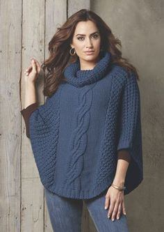 With its large cable-knit front detail, this chunky-knit poncho adds casual flair to your outfit. Ladies Cardigan Knitting Patterns, Knit Vest Pattern, Knit Patterns, Poncho Sweater With Sleeves, Crochet Wedding Dresses, Crochet Poncho, Casual Sweaters, Knit Fashion, Knitting Designs
