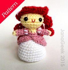 Little Mermaid in Pink Dress Doll Crochet Pattern by JanaGeek