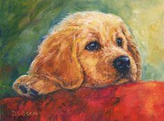 Golden Christmas Puppy Oil Painting Dog Art Pet Portrait Holidays Retriever, painting by artist Debra Sisson