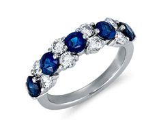 Classic Sapphire and Diamond Garland Ring in Platinum #BlueNile