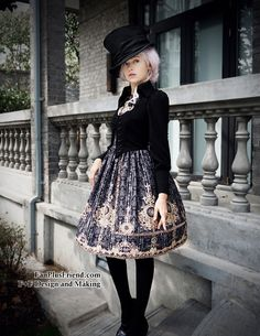 High quality lady JSK in false 2pcs original design and with original prints, elegant and gothic, plus size doable, providing express shipping