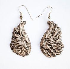 Mica iron oxide grey/black steampunk angel wing earrings
