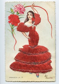 Embroidered Silk Fabrics Spain Flamenco Dance Ethnic Dress 1960s Postcard CD09 | eBay