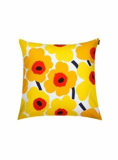 Pieni Unikko -tyynynpäällinen (valkoinen, keltainen, punainen)  Sisustustuotteet, Olohuone, Sisustustyynyt ja tyynynpäälliset   Marimekko