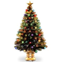 National Tree 48 Inch Fiber Optic Ornament Fireworks Tree with Gold Top Star and Multicolored Lights in Gold Base SZOX7100L48 ** Find out more about the great product at the image link.