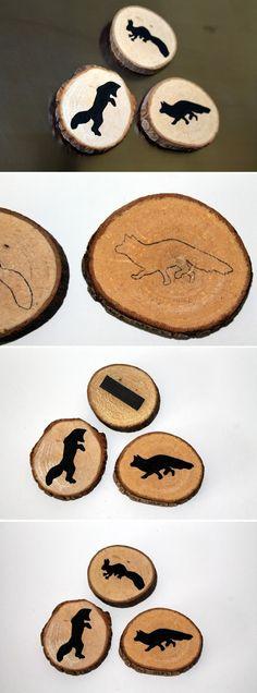 DIY Holzscheiben / Astscheiben Magnete mit Herbstmotiven + Anleitung: Herbst, Fuchs, Füchse, Astscheiben, Holzscheiben, Magnete, Tafellack, Deko, Küche