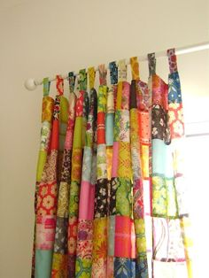 Use up all those scraps. Patchwork drapes.: