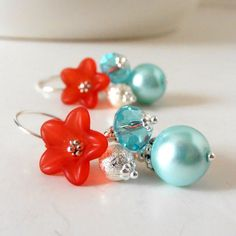 Ice Blue Bead Cluster Earrings with Red Flower Pearl and Crystal Dangles Beaded Earrings Flower Jewelry Red and Aqua Bridesmaid Earrings