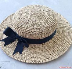 Шляпка канотье крючком - Вязание - Страна Мам Crochet Santa Hat, Sombrero A Crochet, Crochet Hat With Brim, Crochet Summer Hats, Crochet Cap, Crochet Beanie, Diy Crochet, Crochet Hat Tutorial, Crochet Decoration