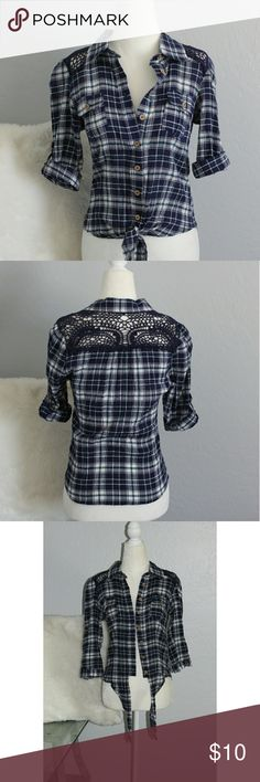 Crochet Waist Tie Button Up Top Cute plaid button up collar blouse with waist tie feature & crochet in the back. Perfect for a  cowgirl ensemble 🐎 size small by Edge. Perfect condition. Edge Tops Button Down Shirts