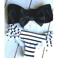 Black bow bandeau with striped black and white bottoms