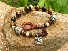 Tigers Eye Turquoise Quartz Brass Silver & Coconut by cainersbliss