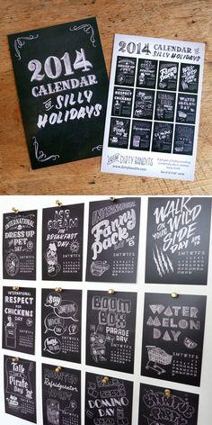Calendar of Silly Holidays 2014 <3