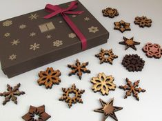 Mini Wooden Snowflake Ornament Gift Box. Rustic Handmade Designs Laser Cut from Sustainable Harvest Wisconsin woods. $27.95