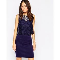 Club L Overlay Crochet Bodycon Dress (£14) ❤ liked on Polyvore featuring dresses, navy, crochet lace dress, navy blue lace dress, navy blue cocktail dress, lace overlay dress and navy dress