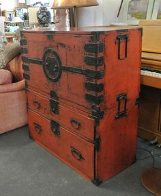 Antique Japanese Tansu Isho Dansu Orange Lacquer Clothing Chest of Drawers image 4 Japanese Furniture, Cool Furniture, Furniture Design, Chest Of Drawers, Storage Chest, Cabinet Styles, Hope Chest, Asian, Antiques