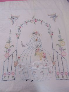 Vintage Southern Belle Bed Spread Hand Embroidered