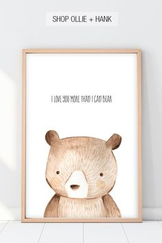 """Looking for the sweetest woodland nursery wall art? This adorable """"I Love More Than I Can Bear""""print features a darling peek a boo bear and is compatible with any decor. The perfect gift for a baby…More Woodland Nursery Boy, Baby Boy Nursery Themes, Bear Nursery, Nursery Decor Boy, Boy Decor, Animal Nursery, Baby Boy Nurseries, Nursery Wall Art, Nursery Ideas"""