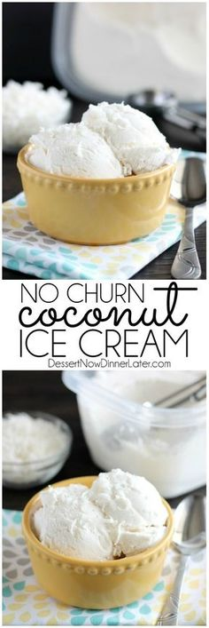 No Churn Coconut Ice Cream - only 2 ingredients to make this creamy, smooth coconut ice cream without a machine! *Alternate option: coconut cream also available at Trader Joe's