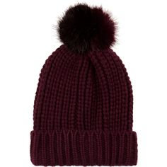 Checkout this Dark red knitted pom pom beanie hat from River Island