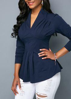 V Neck Long Sleeve Navy Blue Blouse   modlily.com - USD $24.31