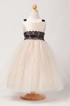 Flower Girl Dresses #SK452W: Classic Satin & Tull Dress W/ Decorative Lace Waist Sash.